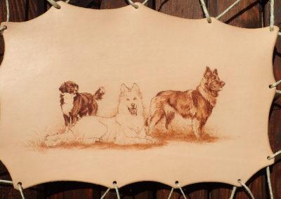 portrait chiens pyrogravé cuir