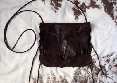 sacoche cuir bandoulière plume forgée