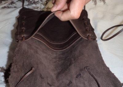 détails sacoche cuir bandoulière