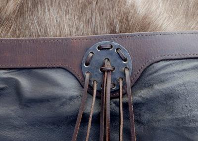 ceinture ethnique tribal cuir renne métal forgé