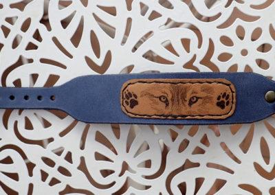 bracelet cuir loup pyrogravé