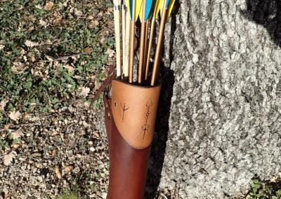 carquois cuir de ceinture chasse pyrogravureA