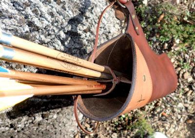 carquois cuir de ceinture chasse pyrogravure