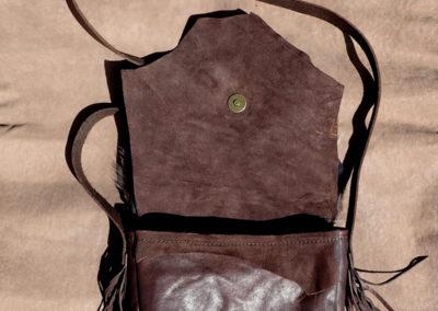 sac bandoulière cuir artisanal fourrure agneau