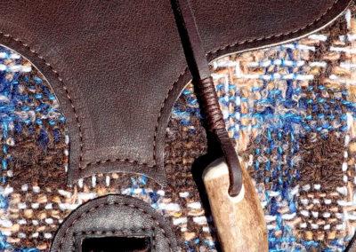 sac bandoulière cuir artisanal tissu lainé bois de renne