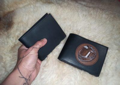 portefeuilles personnalisés pyrogravure cuir