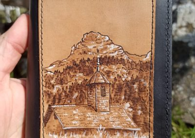 portefeuille cuir pyrogravé paysage